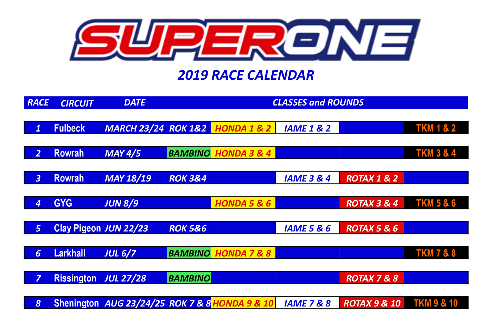 Race Calendar.2019 Racing Calendar Super One Series